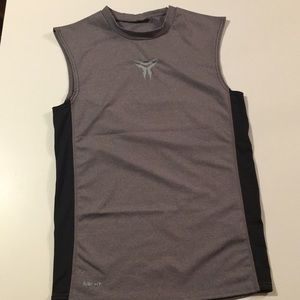 Nike Black & Gray Sleeveless Compression Tee L